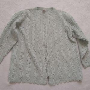 Pastel vintage knit cardigan scallop hem